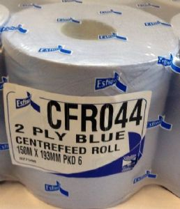 1 X  Blue Esfina 2 Ply Centre Feed Paper Roll